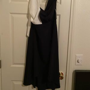 Black and white high low dress